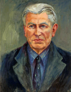 Glyn John, Chief Librarian (1947-1972) Oil on board, artist unknown. (ACVMS:2010.404)