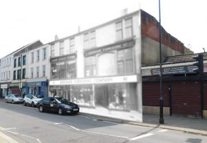 Black and white photo of Aberdare Furnishing Company imposed on modern street scene