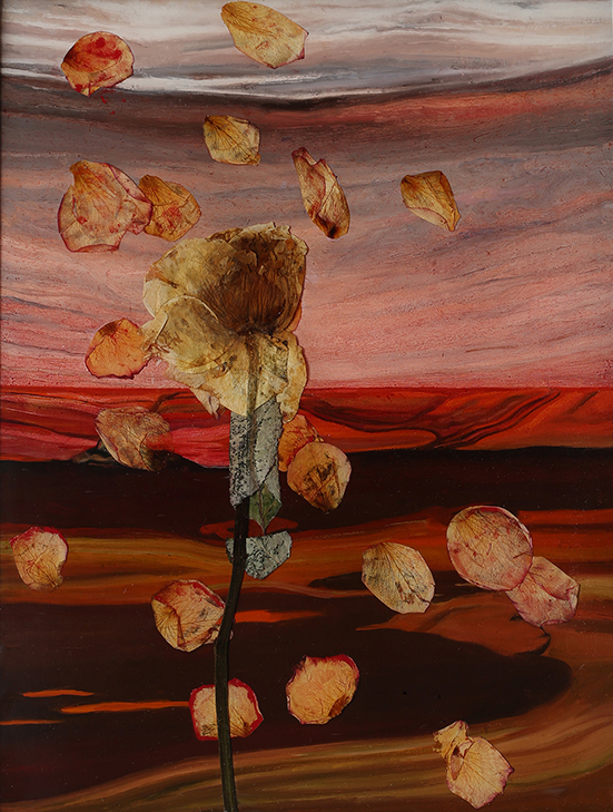 alan-salisbury-last-day-landscape-6-dead-flower-with-dead-floating-petals.-2020.-resin-flora-and-oil-on-board.-26-x-20cm.-first