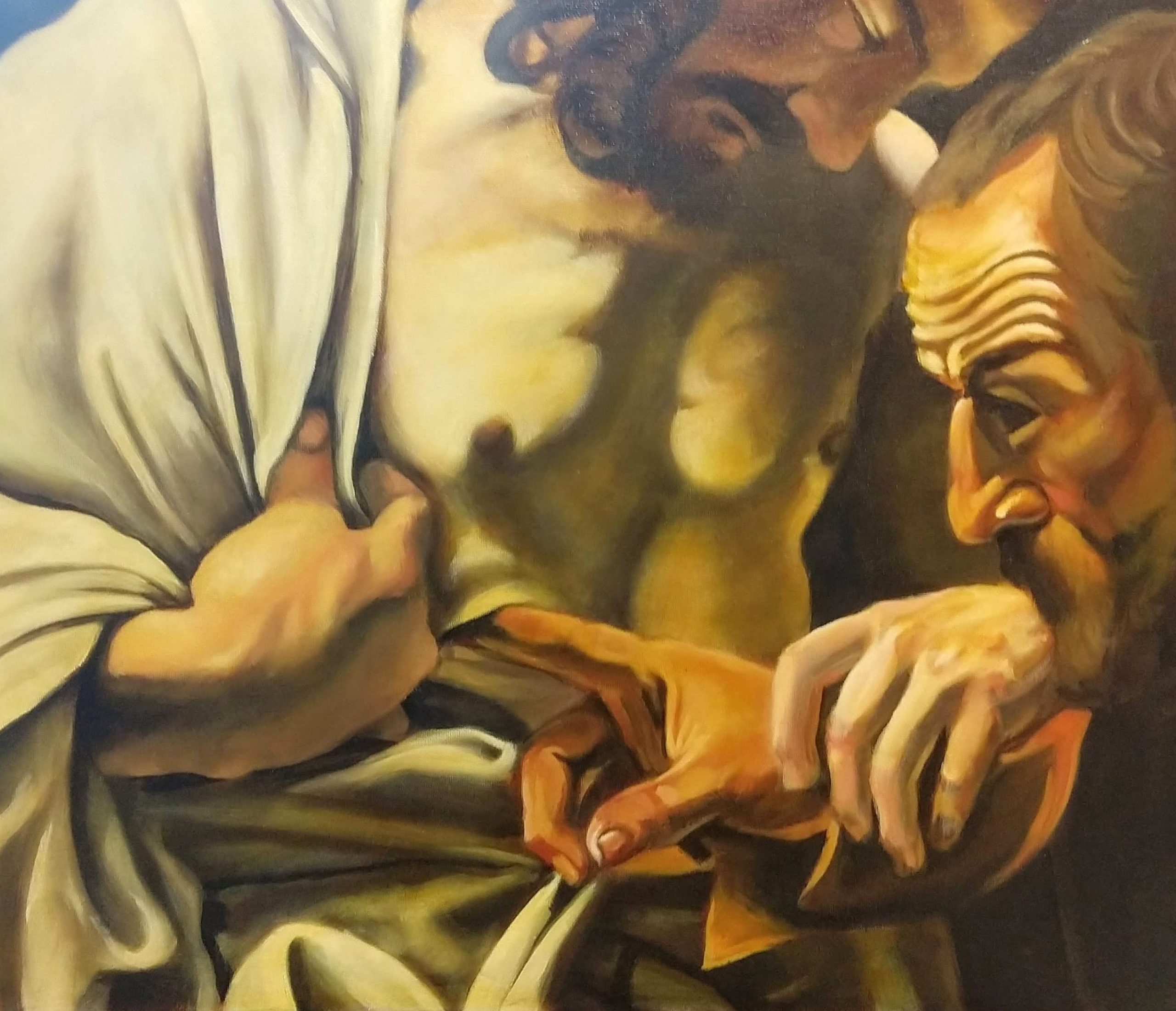 Master copy 2019 after Caravaggio,  'The incredulity of St Thomas' Neil Burridge
